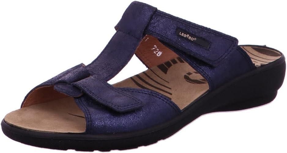 Damen Pantolette 36 37 38 39 40 41 Legero blau Leder