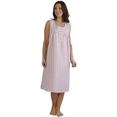 7165372c13 Slenderella Ladies Seersucker Stripe Nightdress Lightweight Sleeveless  Nightie UK 28 30 (Pink)  Amazon.co.uk  Clothing