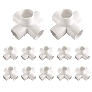 Homend 12 Pack Tee PVC Fitting Elbow PVC Elbow Corner Side Outlet Tee Fitting Build Heavy Duty PVC Furniture Elbow Fittings for Furniture Grade,Centre Connection (1/2inch, 5Way)