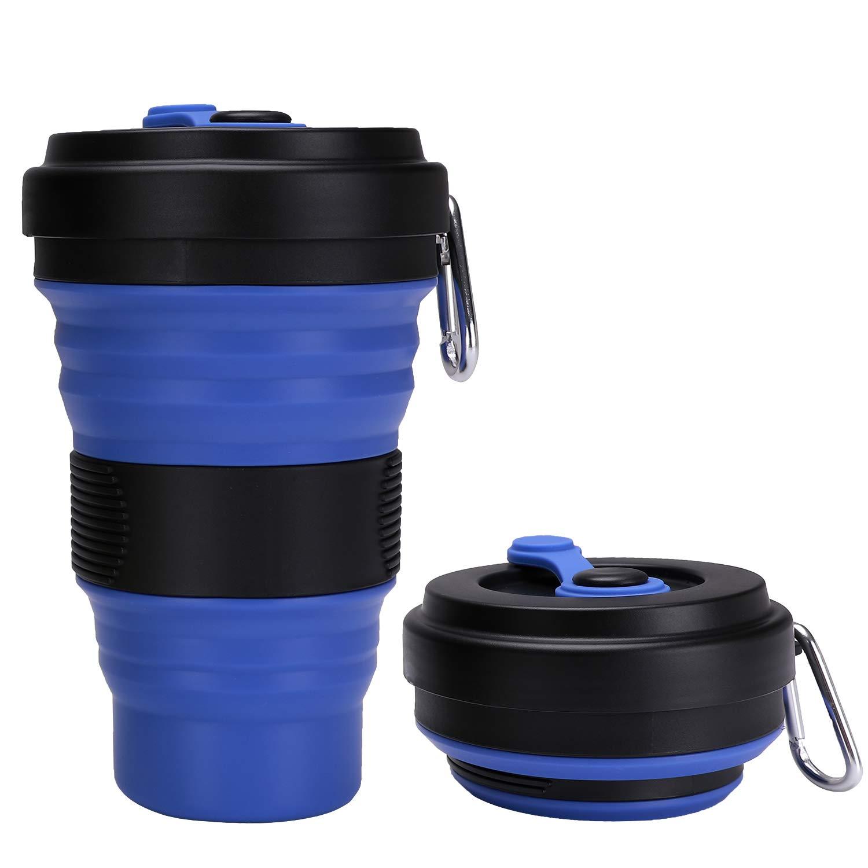 DARUNAXY 折りたたみ式トラベルカップ - ダークブルーシリコン折りたたみキャンプカップスポーツボトル 蓋付き - 拡張可能な耐火性ドリンクカップ - 19オンス ポータブルボトル   B07P8LM66R