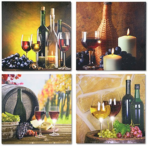 BANBERRY DESIGNS LED Wall Decor - Set of 4 Wine Art Prints with LED Lights Home Decor - Flickering Lighted Votive Candles Pictured with Wine Glass and Wine Bottle - Wine Decor for Kitchen