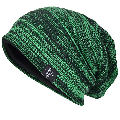 VECRY Mens Slouchy Knit Oversized Beanie Skull Caps Hat (Green Knit Beanie Cap Hat)