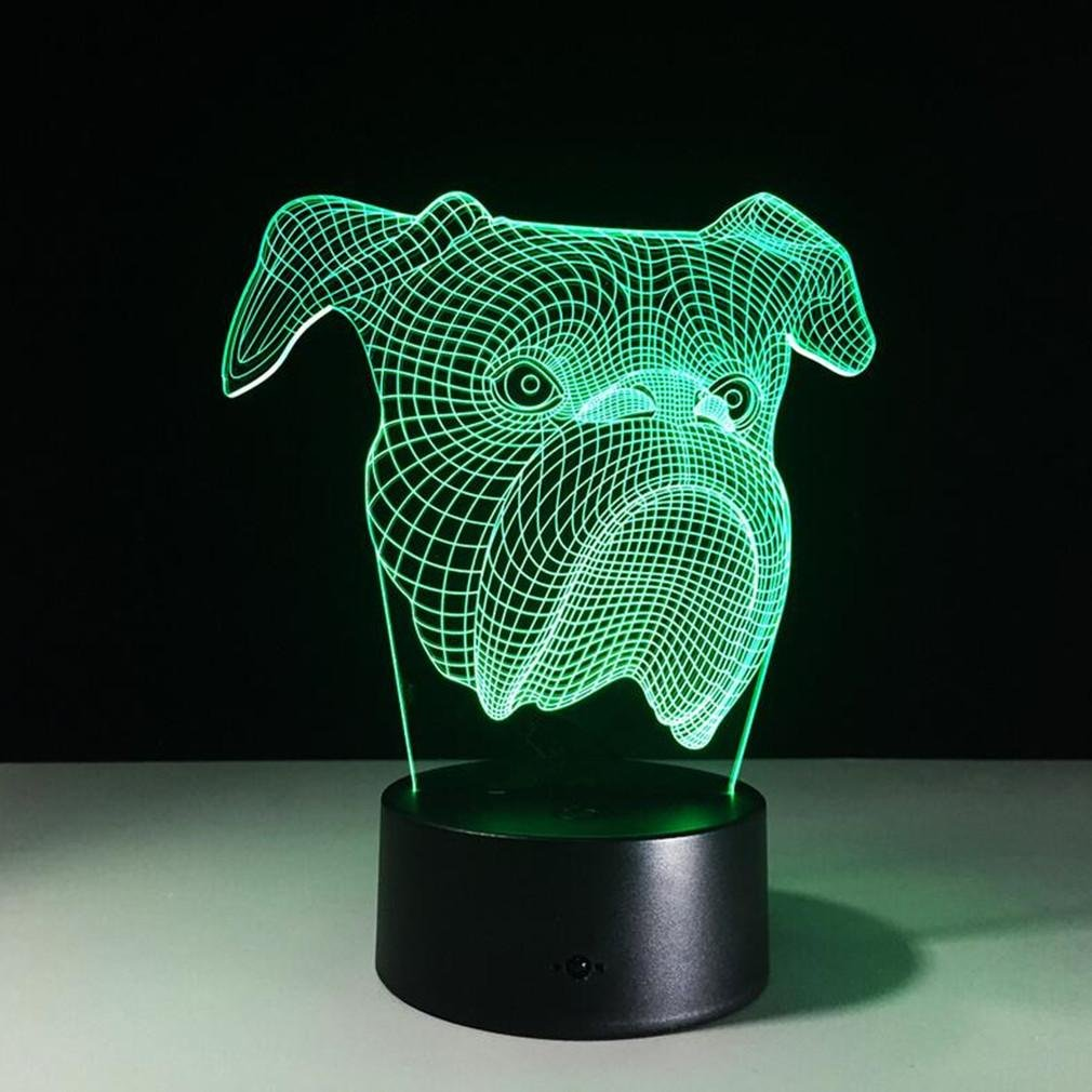 Caryy LED寸法Optical Visual Illusionランプ、7色リモートコントロールライト、3d犬ヘッドMini Nightライト、装飾Atmosphere USBテーブルランプ、子クリスマスハロウィン誕生日ギフト B074FW8JB2