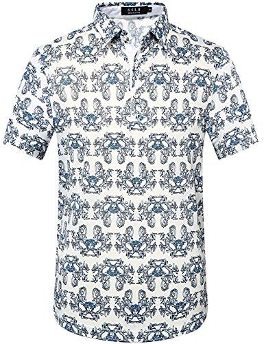 SSLR Men's Individual Printing Polo Shirt (X-Large, White Grey)