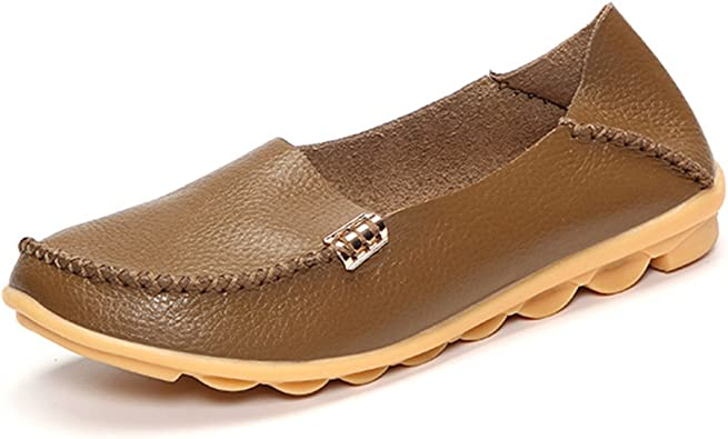 gracosy Women's Leather Casual Loafer