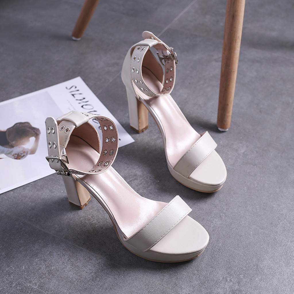 Womens Summer Open Toe Ankle Strap Chunky Block High Heel Dress Party Pump Sandals Beige by CCOOfhhc (Image #3)