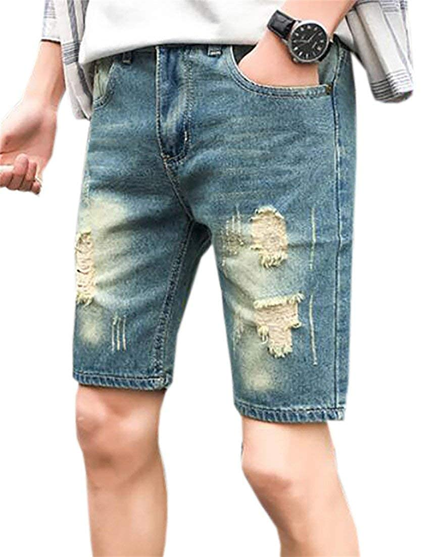 SELX-Men Vintage Ripped Distressed Straight Fit Denim Shorts