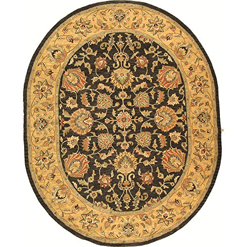 - Safavieh Heritage Collection HG343D Handcrafted Traditional Oriental Ivory and Brown Wool Oval Area Rug (7'6