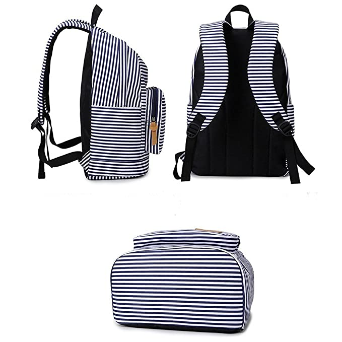 Amazon.com | S Kaiko Stripe Canvas Backpack School Bakcpack for Women and Men School Bag Daypack Teenager Rucksack Traveling Backpack for Hiking Clambing ...