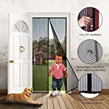 Magnetic Screen Door Mesh Screen Door Reinforced Keep Bugs Mosquitoes out Full Frame Velcro Heavy Duty Mesh Top-to-Bottom Seal Easy to Install Remove Fit up to 34x82