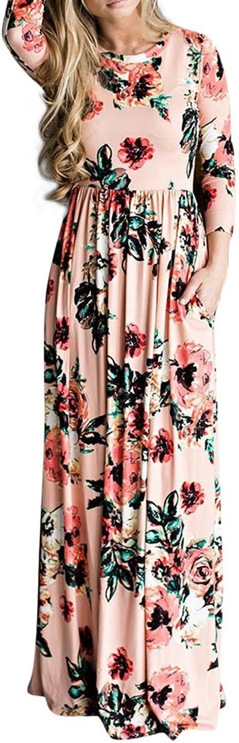 TALLA (EU44-46)L. Lover-Beauty Vestido Largo Floral Print Casual para Noche Fiesta Playa Fiesta Manga Larga Cuello Redondo Vestido Verano Cuello V Rosa 2 (EU44-46)L