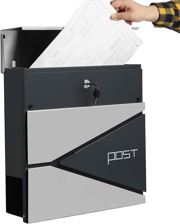 anthrazit-silbern GMB51AS abschlie/ßbarer Wandbriefkasten SONGMICS Briefkasten modern einfache Montage mit Zeitungsfach