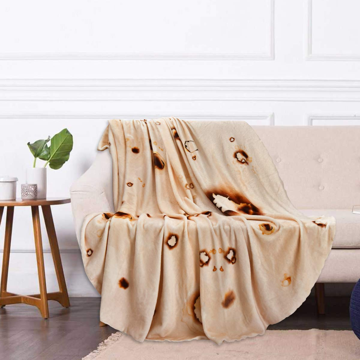 Yastouay Burritos Tortilla Blanket 71 Inches Diameter Round Burritos Throw Blanket Soft Flannel Wearable Blanket for Indoors and Outdoors