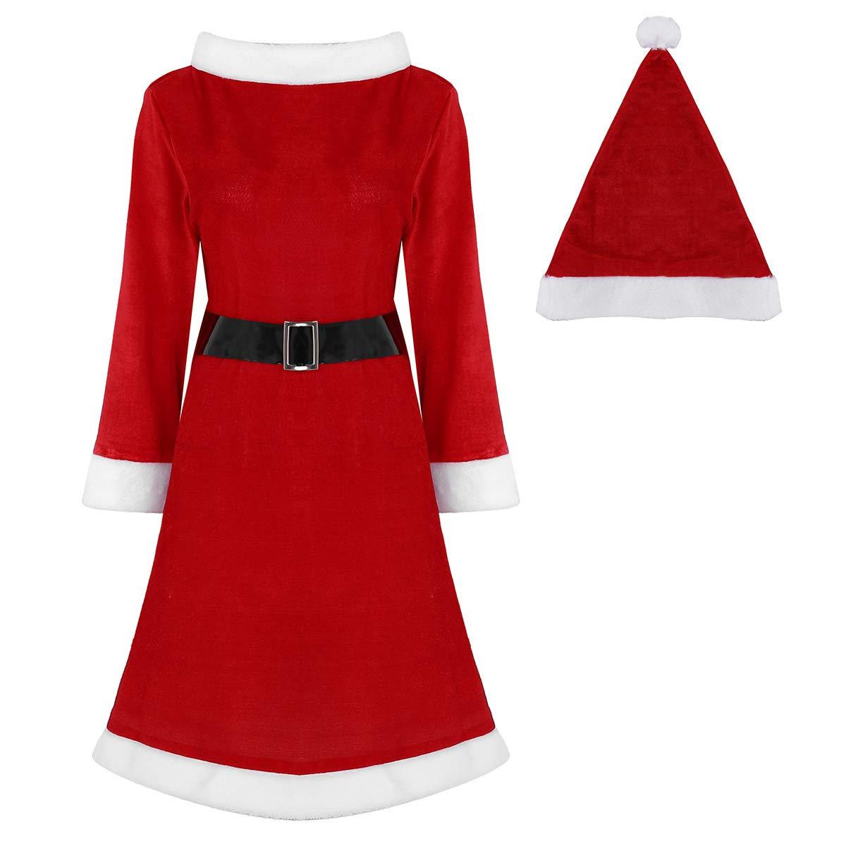 CHICTRY 4PCS Traje de Navidad Adulto Disfraces de Papá Noel ...