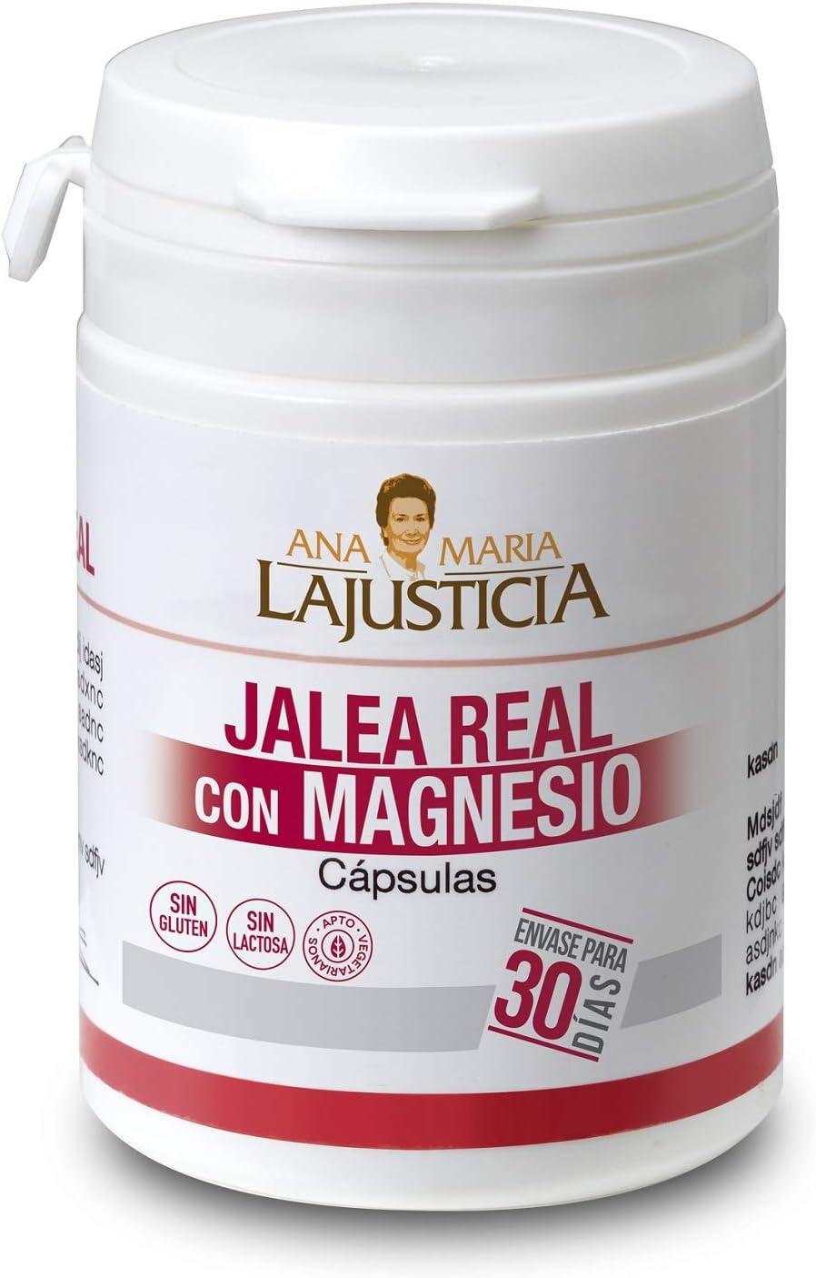 Ana Maria Lajusticia - Jalea real con Magnesio – 60 cápsulas. Proporciona energia y vitalidad. Contribuye a disminuir el cansancio y la fatiga. Envase para 30 días de tratamiento.