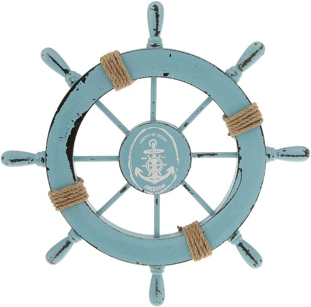 Sky Blue WINOMO 28CM Wooden Mediterranean Style Boat Rudder Timoneer Accessory Home Wall Pendant Decor