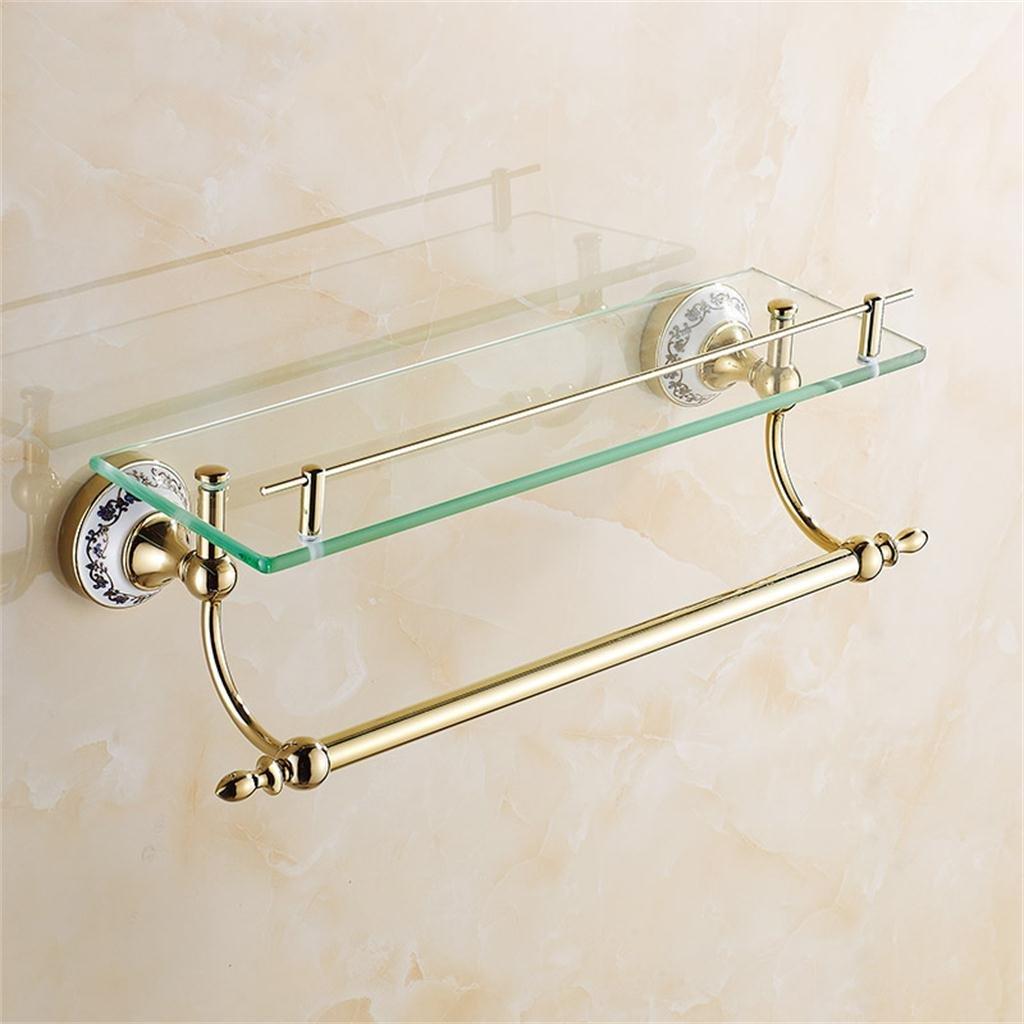 家庭の照明タオルレール、青と白の磁器ラック、多目的バスルームラックとゴールドガラスシェルフは、化粧品ラック ( サイズ さいず : 60 cm 60 cm ) B07B3QH7XM 60 cm 60 cm 60 cm 60 cm