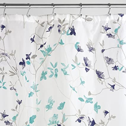 MDesign Twigs Floral Fabric Shower Curtain 72quot X