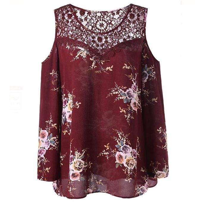 ❤ Camisas Mujer,Modaworld Moda Blusas Elegantes de Fiesta Estampada Floral con Hombros Descubiertos para Mujer Tallas Grandes Camisetas y Tops señoras: ...