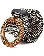 TOOGOO Straw Wide Belt Female Woven Vintage Round Wooden Buckle Decorative Dress Shirt Belt Black Strips