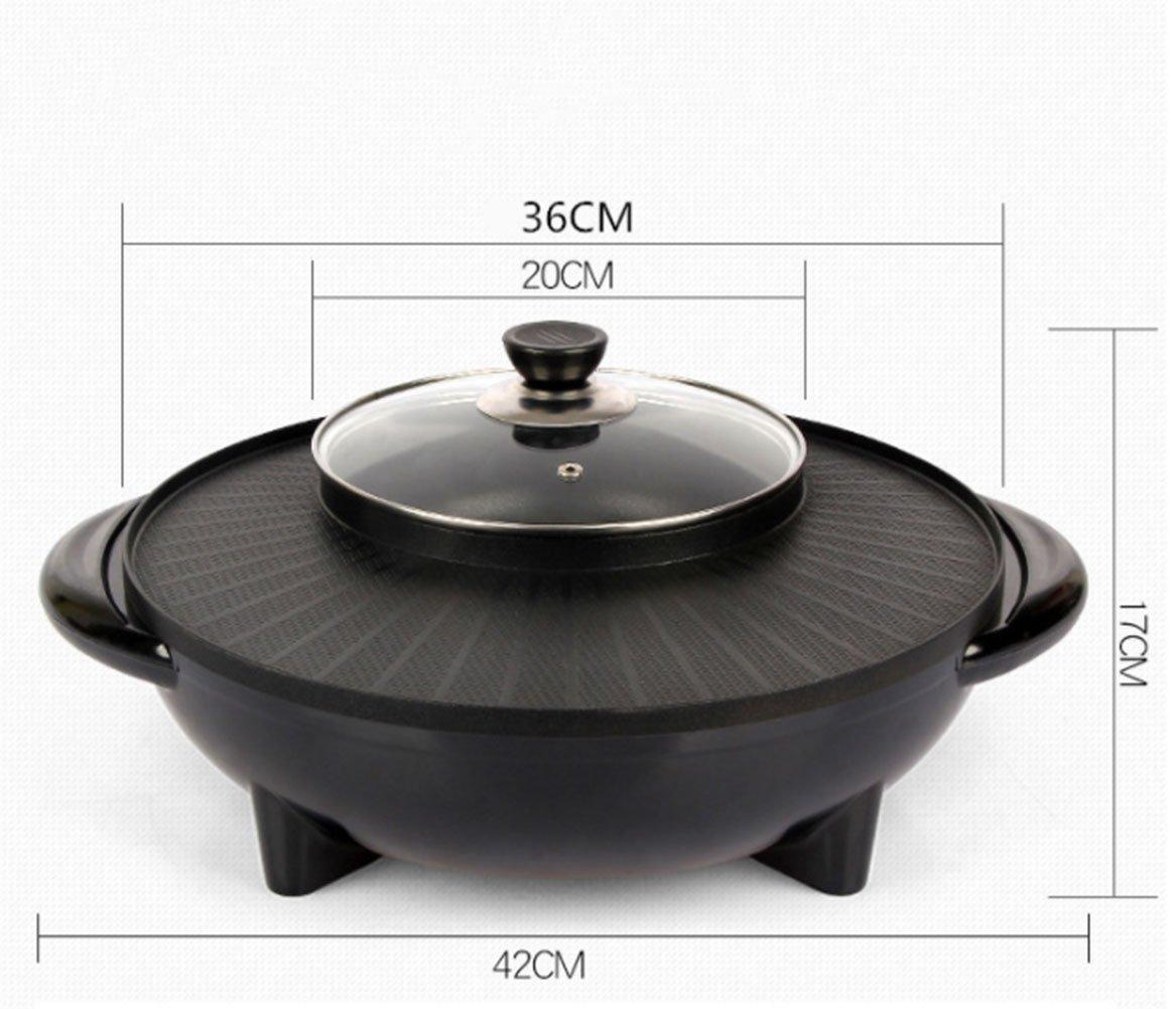 LJIE Koreanische Barbecue Hot Pot Doppeltopf Integrierte Kochtopf Elektrische Hot Pot Elektrische Grill Elektrische Backform,32Inch
