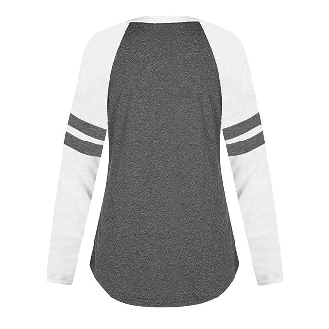 Camiseta Mujer, LANSKIRT Mujeres de Moda Carta de impresión Ocio Suelto Manga Larga Blusa de Empalme Tops Ropa Camiseta: Amazon.es: Ropa y accesorios
