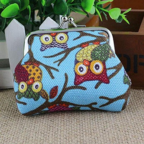 Small Hasp Purse Wallet Clearance Vintage Bags Owl Fashion Pockets Lovely Wallet Handbags Women Blue 2018 Light Coin Style Noopvan Clutch 87nq6q