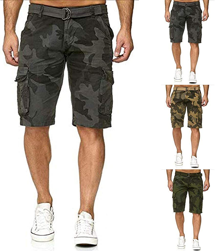 Clearance!Forthery Mens Casual Big and Tall Slim Fit Outdoors Workout Lightweight Multi Pocket Beach Camo Cargo Shorts