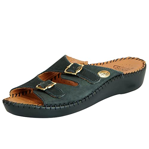 Dr. Scholl's Women's Leather Buckle Sandals Women's Fashion Slippers at amazon