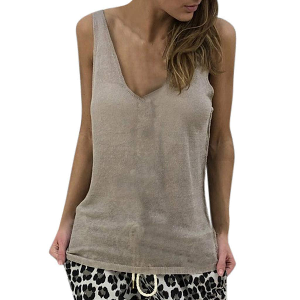 Fashion Women's Tank Tops V Neck Solid Vest Casual Loose Sleeveless T-Shirts (S, Khaki)