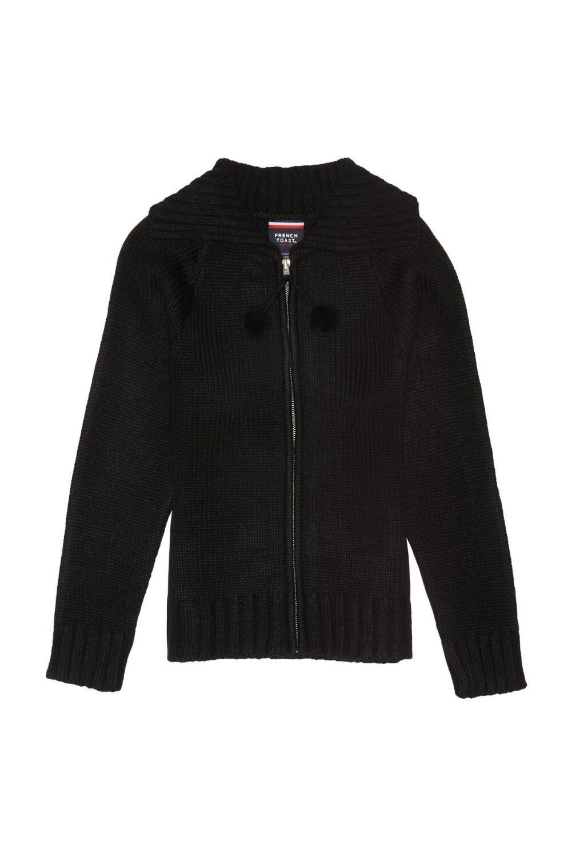 French Toast Big Girls Long Sleeve Pom Zip Front Sweater, Black, Medium/7/8