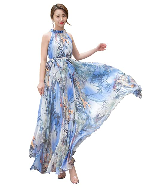 b87c8eb1797 Medeshe Women s Summer Floral Long Beach Maxi Dress Lightweight Sundress ( Length 115cm