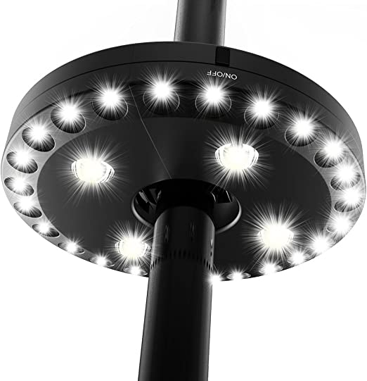 28 LED Battery Operated Patio Umbrella Pole Tent Camp Light Lawn Garden Outdoor