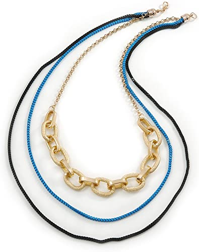 Layered Oval Link Box Style Chain Necklace In Black// Pink// Gold Tone 3 Strand