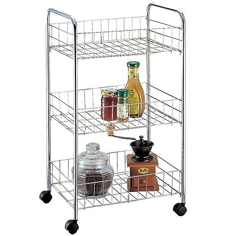 Chef Vida Carrito de almacenaje de Verduras Cocina (3 estantes/Rack Carro con Ruedas