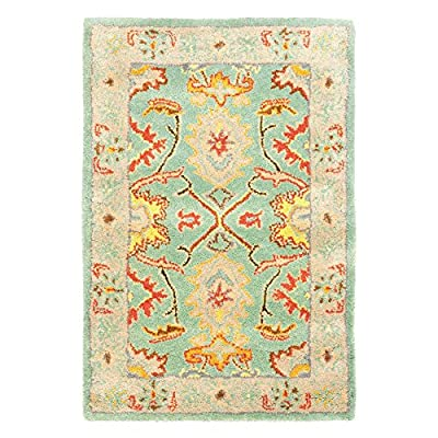 Safavieh Heritage Collection Handmade Light Blue and Ivory Wool Area Rug