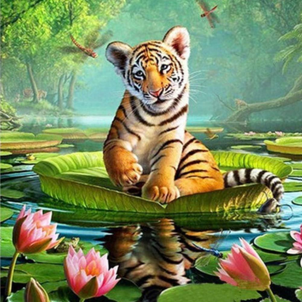 Yalatan Kit de punto de cruz de pintura de diamante Tiger 5D DIY ...