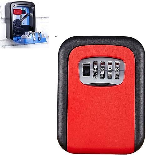 Caja Fuerte Pequena con Codigo,Caja con llave,Caja de Bloqueo de llave Montada en la pared Caja de Bloqueo de llave con Combinación de 4 dígitos para llaves de Casa ...