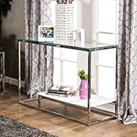 Furniture of America Deitie Modern Chrome Sofa Table White
