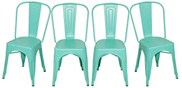 merax solid metal bar dining chairs steel back chairs antique blue set of 4