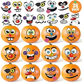 36 Pack Halloween Pumpkin Decorating Stickers Mini - Make 36 Small Pumpkin Face Stickers for Halloween Kids Toddlers Party Favors Halloween Treats Stickers Gifts 18 Sheets