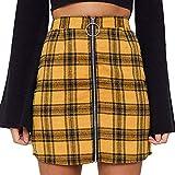 Womens Sexy Party Plaid Zipper Slim High Waist Hip Short Mini Skirt Yellow
