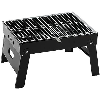 HomJo Barbacoa grill Portable plegable piernas una parrilla Camping exterior de acero inoxidable pedestal carbón de