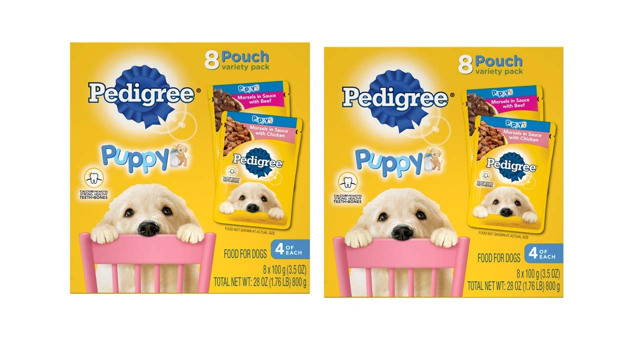 Pedigree Choice Cuts Puppy Morsels In Sauce Wet Dog Food Variety Pack With Chicken And With Beef, (16) 3.5 Oz. Pouches