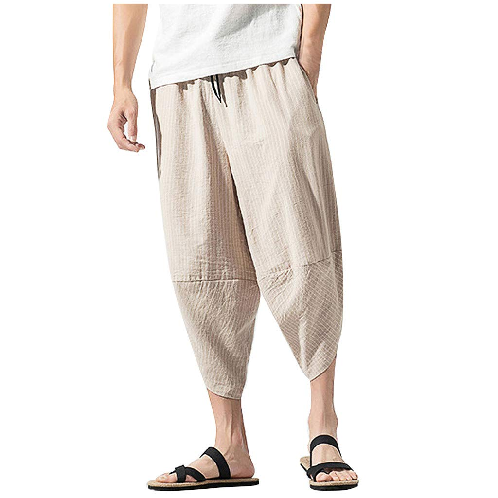 Allywit M-5XL Summer Men Casual Harem Pants Jogger Stripe Fitness Trousers Capri Linen Loose Pants Beige