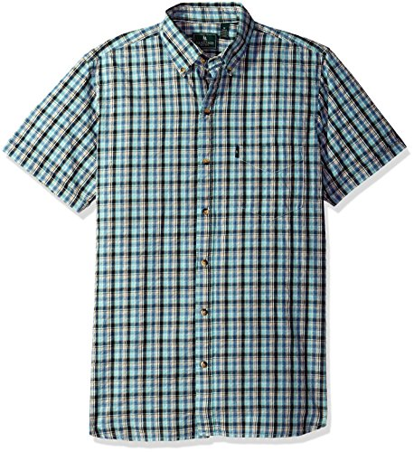 Aqua Seersucker - G.H. Bass & Co. Men's Short Sleeve Seersucker Small Plaid Shirt, Rich Aqua Haze, X-Large
