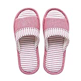 mianshe Unisex Knitted Cotton Slippers Washable Open Toe Indoor Shoes Non-Slip Sole House Slippers
