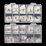 Feugole French Nail Tips Acrylic Flake Nails Half Cover 1000PCS Artificial False Nails Half Tips & Box for DIY Nail Art (Natu