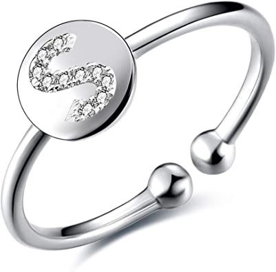 Sterling Silver Adjustable Initial Alphabet Ring