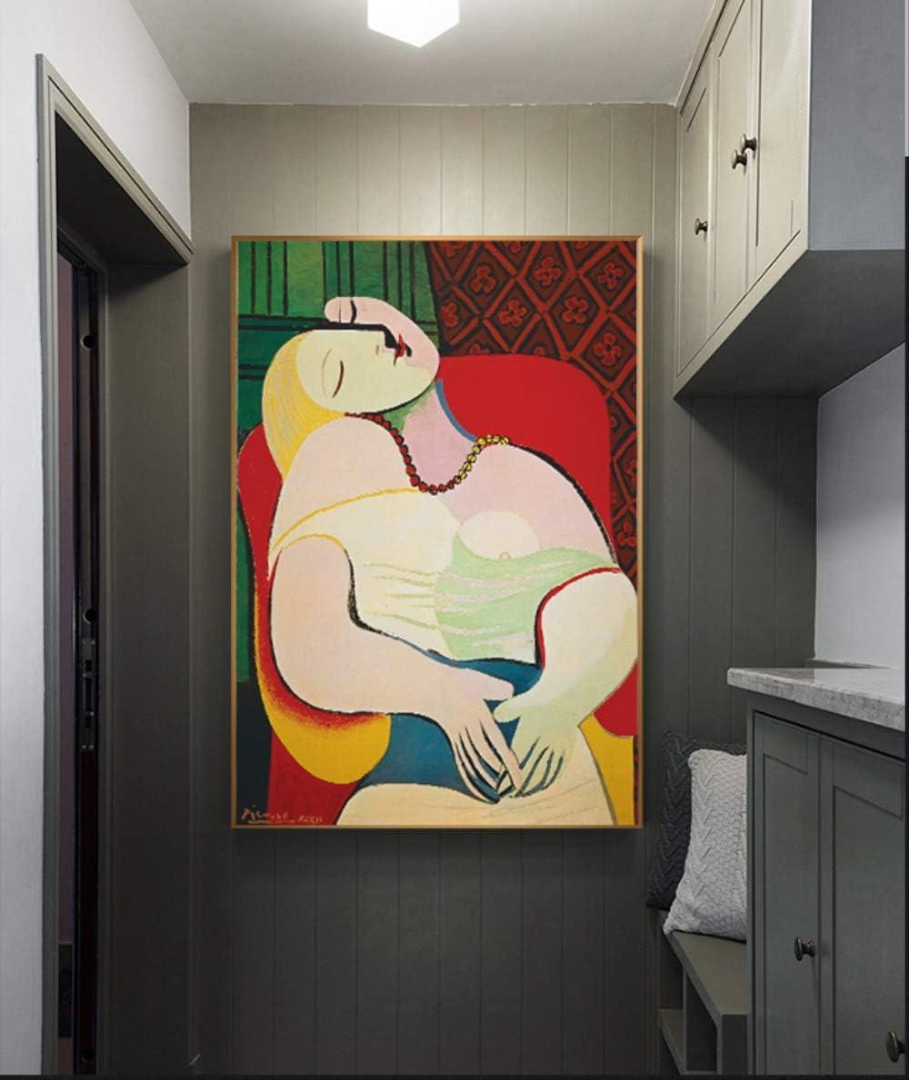 DPFRY Cuadro En Lienzo Picasso Dreaming Woman Pintura Abstracta Arte Réplica Imagen En La Pared para La Sala Decoración para El Hogar Carteles E Impresiones HD Estilo Nórdico Vt71A 40X60Cm Sin Marco